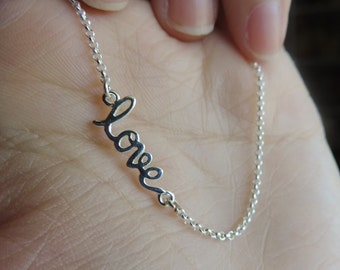 925 Sterling Silver love in cursive elegant artsy writing charm pendant necklace on-the-side