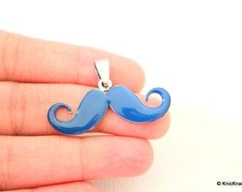 Handlebar Moustache Blue Pendant Necklace