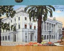 Vintage Postcard, United States Post Office, New Orleans, Louisiana 1940s Linen Paper Ephemera