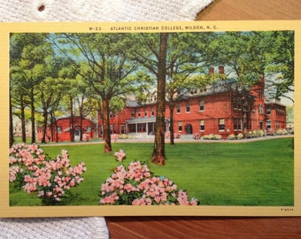 Vintage Postcard, Atlantic Christian College, Wilson, North Carolina - 1940s Linen Paper Ephemera