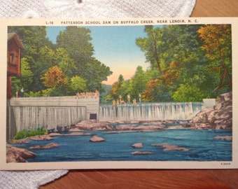 Vintage Postcard, Patterson School Dam, Lenoir, North Carolina - 1940s Linen Paper Ephemera