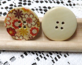 10 flower Wood Buttons flower Sewing button 30mm wood flower buttons 4 hole buttons