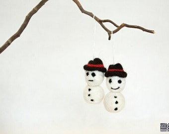 Snowmen, Christmas ornament, set of 2, christmas decoration, wine bottle charm, gift tag, black and white, Happy and Sad