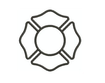 Applique Machine Embroidery Design Instant Download - Fireman's Maltese Cross 2