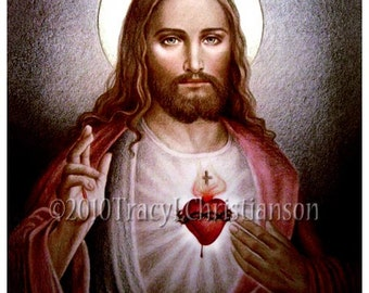 The Sacred Heart of Jesus (B) Catholic Art Print Free Shipping #4044
