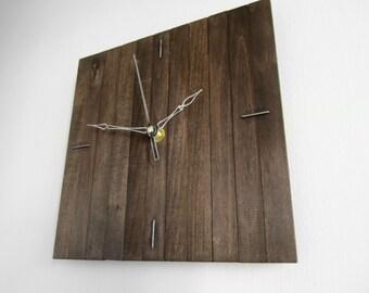 Praf I, contemporary clock wooden dark wood coffee square wall hanging clocks wood office home decor squaresilent movement, Paladim
