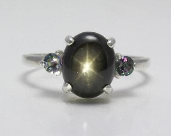 Genuine 3ct 6-Ray Black Star Sapphire Ring Sterling Silver September Birthstone