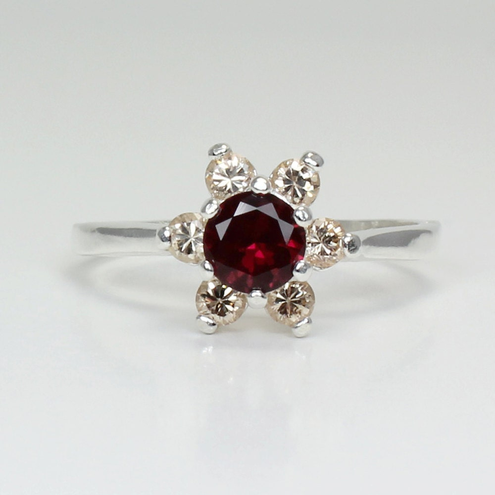 ruby diamonds ring sterling silver ruby silver ring
