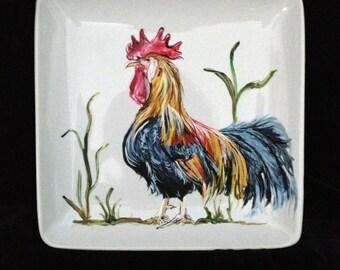 "Custom Pet Portrait, Origanal Acrylic Painting, 5""x6.5"" Ceramic Plate"