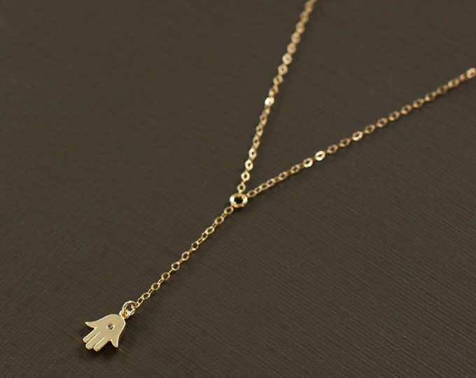 Delicate Rosary Y Necklace with Gold Hamsa Charm