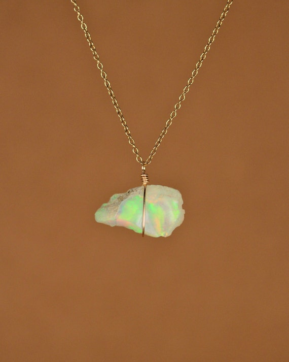 Opal necklace - raw opal - genuine opal - natural opal - a raw genuine opal wire wrapped onto a 14k gold vermeil chain - BLD4