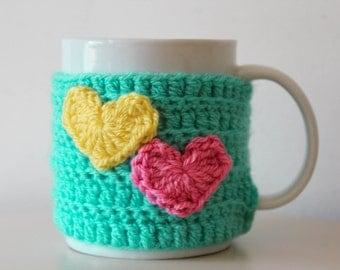 Crochet cup cosy, crochet mug cosy, Easter mug cosy, heart mug cosy, conversation hearts, turquoise