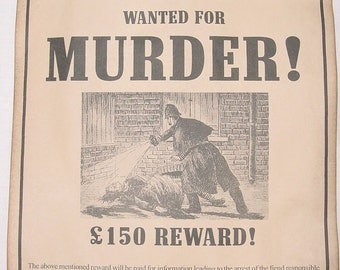 Set of 2 Jack the Ripper Wanted Posters, Leather Apron, Halloween Decor