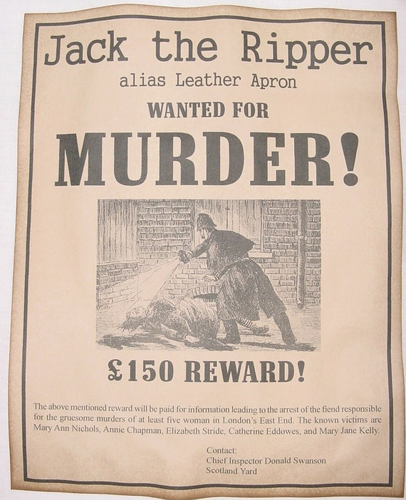 set of 2 jack the ripper wanted posters leather apron