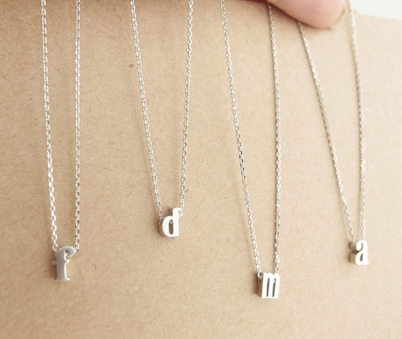 Lowercase initial necklace silver by littlethingsbytcy on etsy for Lowercase letter necklace
