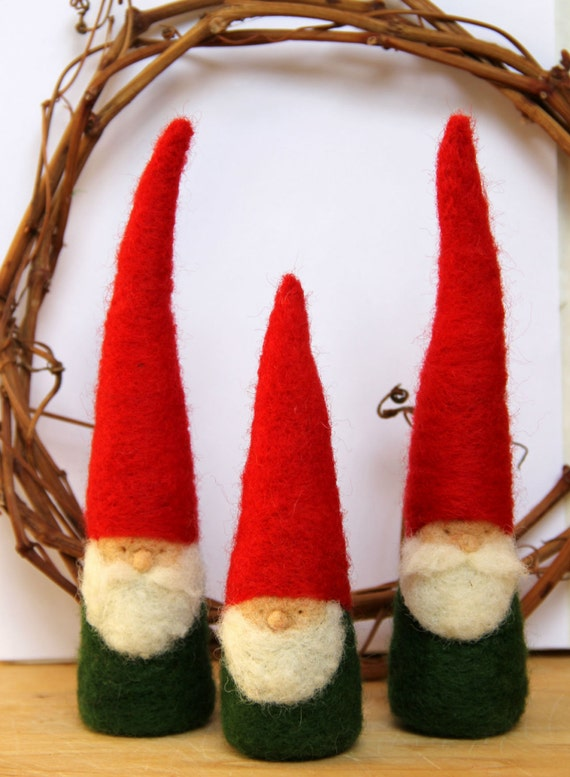 Items similar to felted christmas gnome figurine waldorf
