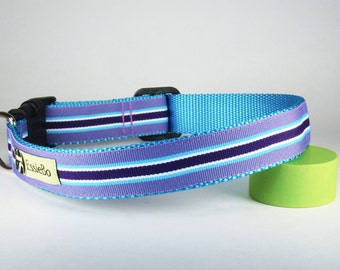 "Perky Purple Stripes Spring Summer Dog Collar, 1"" Wide"
