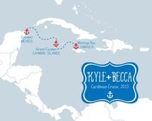 Wedding cruise map custom art print 8x10 cozumel mexico cayman