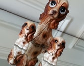 Adorable Vintage Japanese Cocker Spaniel figurine with two puppies on chains