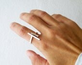 Parallel Bars Adjustable Sterling Silver Ring Minimal Modern Open Ring bySteamyLab