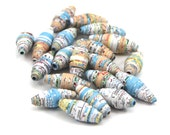 Vintage Atlas Paper Beads, Handmade Map Beads, Set of 20, Upcycled Atlas, Recycled Map, Supplies, Jewelry Making