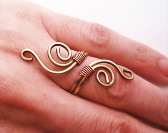 Wire wrapped adjustable ring, brass and copper  - wire wrapped ring handmade