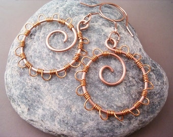 Wire Wrapped Circle Earrings Copper - Handmade Copper Earrings - Copper Jewelry