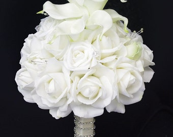 Silk Wedding Bouquet with Off White Roses and Callas - Natural Touch Silk Flower Bride Bouquet - Almost Fresh