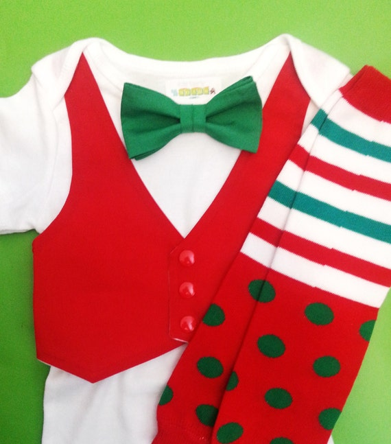 Items similar to Christmas Outfit - Baby Boy - First ...