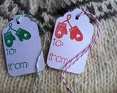 Christmas Gift Tags, Winter Mittens Hand Stamp, Holiday Gift Tags, set of 12