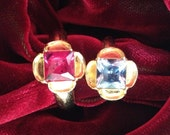 """Replica Tudor Style Gold-Plated """"Ruby"""" Ring for Renaissance/Elizabethan Reenactment - Large Size"""