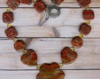 All Shapes and Sizes - Brecciated Jasper, Citrine, Stelring Silver Necklace