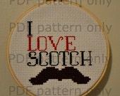 PDF Pattern - I Love Scotch - Anchorman cross stitch