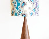 Drum Lamp Shade - Choose Your Size - Turquoise and Purple Paisley