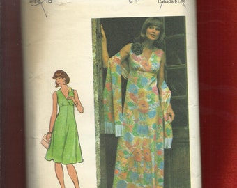 1970's Butterick 4213 Flared Empire Dress with Cross Bodice Detail Seams Slimmer Pattern Size 16 UNCUT