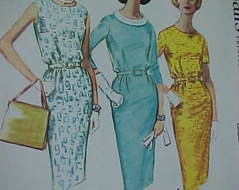 Dress Pattern 1961 McCalls 5921 UNCUT Day or Evening  Womens Vintage Sewing Pattern Bust 32