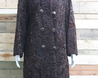 beautiful chocolate brown persian lamb 1960's overcoat - high quality