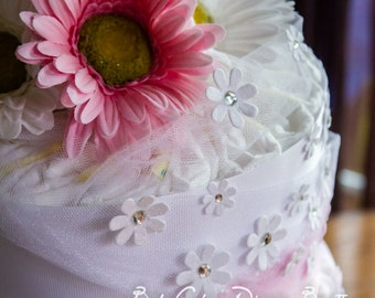 It's a Girl, Daisy Baby Shower Diaper Cake, Large Diaper Cake, Pink and White Daisy Baby Shower