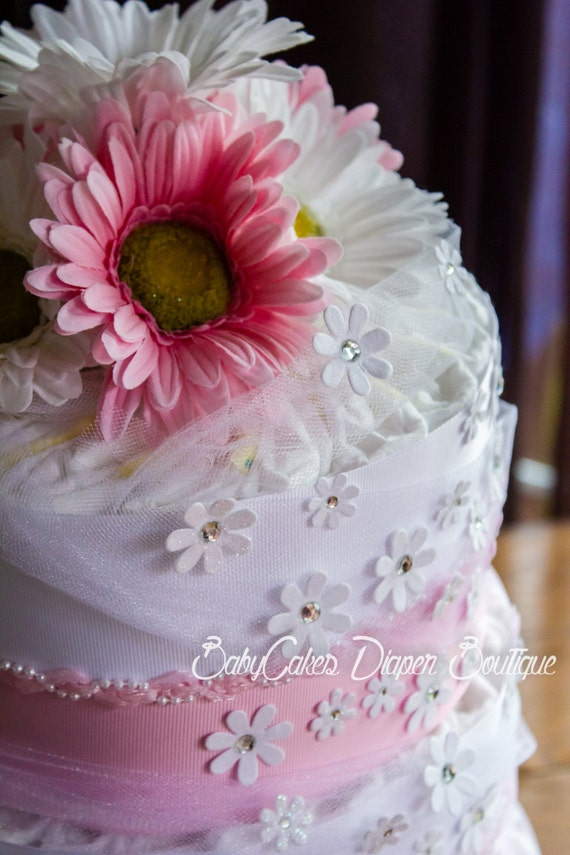 Gerber Daisy Diaper Cake | Baby Girl Diaper Cake | Pink and White Baby Shower |  Diaper Cake Centerpiece