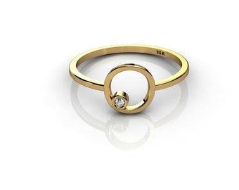 NEW Tiny 14K Yellow Gold ring with white diamond Knuckle ring stackable