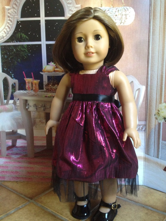 American Girl doll clothes - Metallic pink party dress
