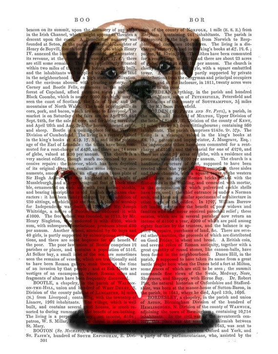 Red Buckets of Love Bulldog Puppy Wall Art Dog Illustration Dog Valentines Gift wall art wall decor Bulldog Print Dog Print Puppy Print
