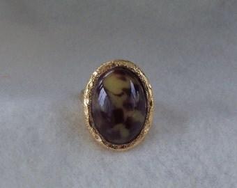 Sarah Coventry Desert Flower Adjustable Ring 5517   Vintage, Brown, Golden