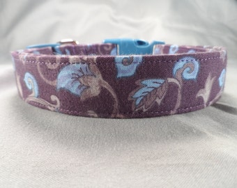 Blue Leaf Scroll on Purple Dog Collar