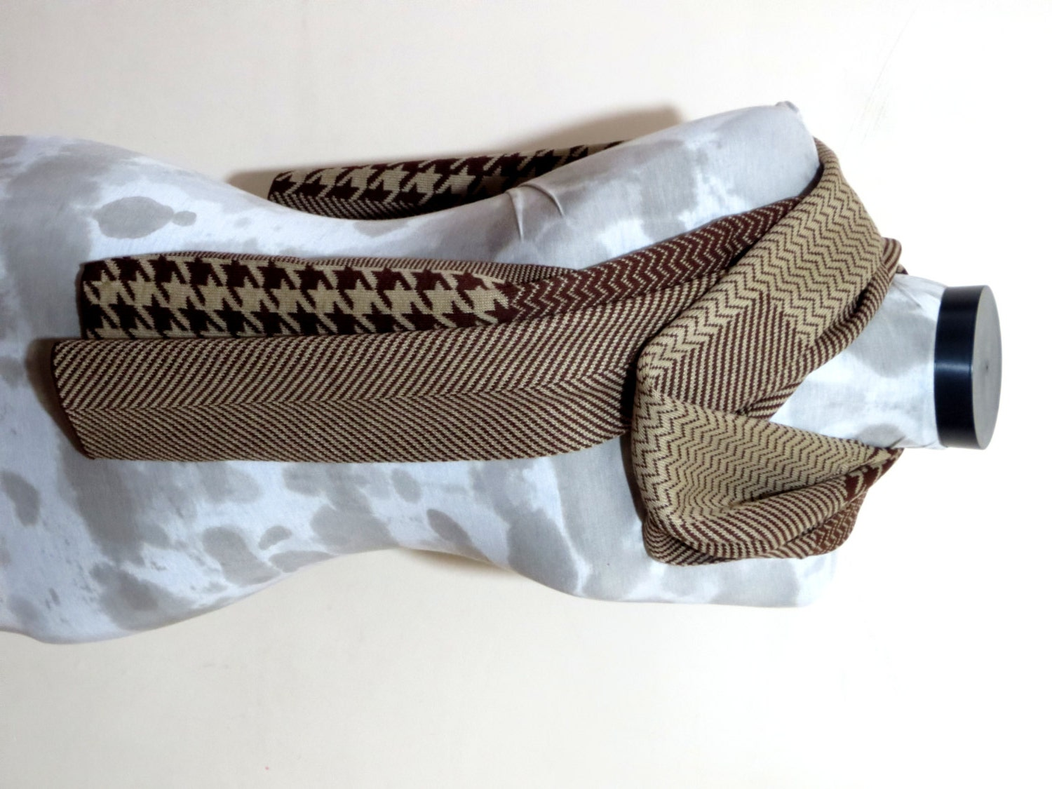 Knitting Machine Scarf Pattern : Knitting machine scarf..Brown and creamchevron by MenAccessory