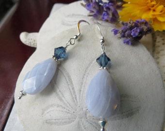 Blue lace agate earrings, Agate earrings, Sterling silver earrings, Swarovski earrings, Crystal earrings, Silver earrings, Blue earrings