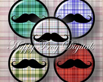 "Mustache - 1.5"", 1"", 25 mm, 30 mm circles  - digital collage sheet 115 HFD  - Printable Download - Instant Download"