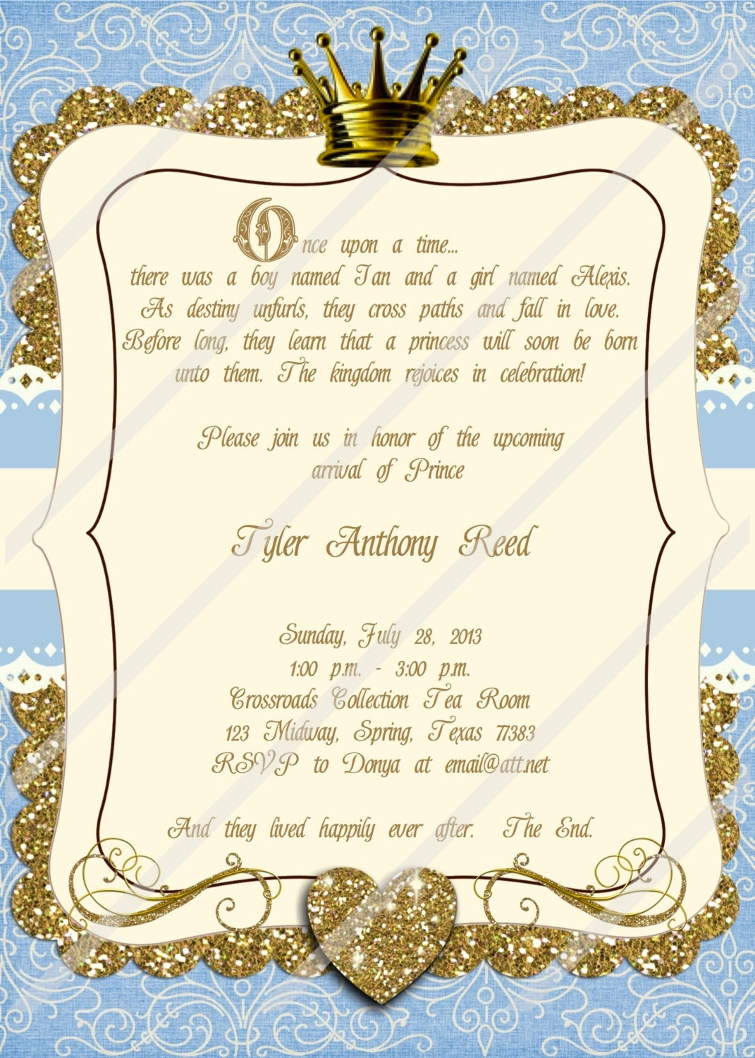 once upon a time invitation little prince baby shower boy