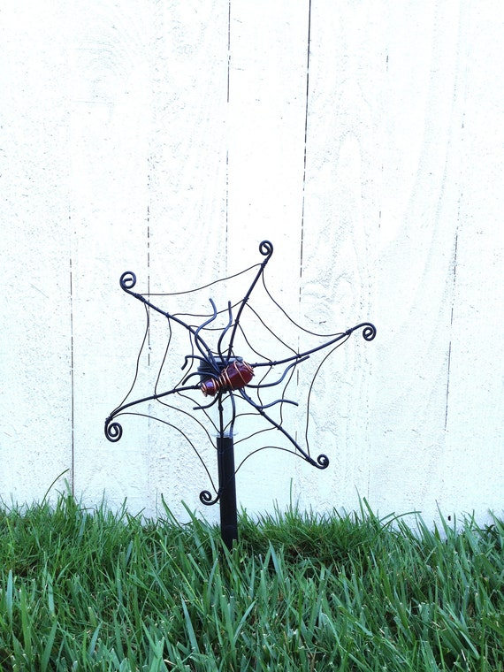 spider web solar light stake halloween by carebarescreations. Black Bedroom Furniture Sets. Home Design Ideas