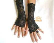 Black lace glove, fingerless glove, gothic, boho bride gloves, fingerless glove, Free ship